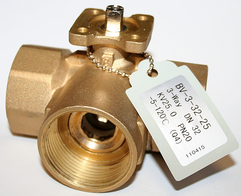 """BV-3-20-6,3; Trojcestný zónový regulační kulový ventil tělo G 3/4"""" - mosaz"""