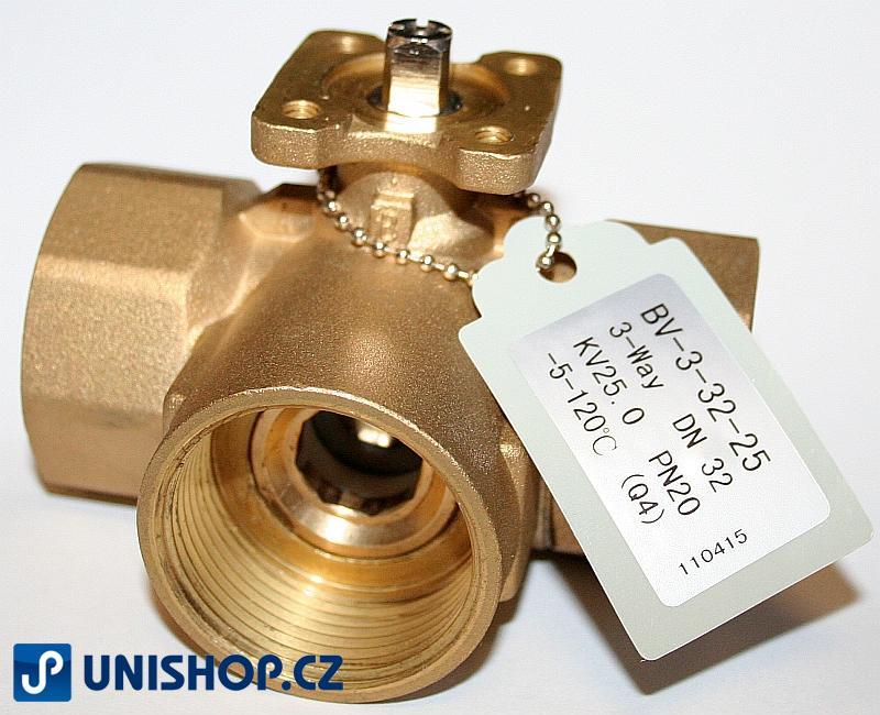 """BV-3-25-16; Trojcestný zónový regulační kulový ventil tělo G 1"""" - mosaz"""