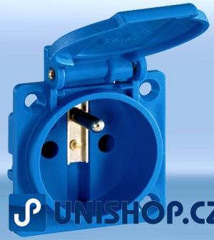 Zásuvka IP54 vestavná modrá vč. těsnění, 250VAC