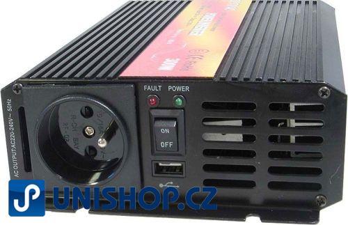 Měnič 24V/230V+USB 300W,čistá sinusovka,CARSPA