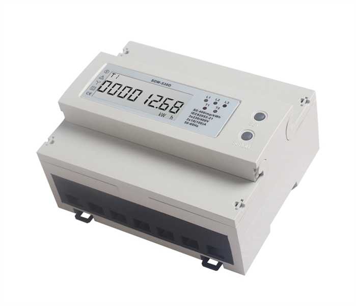 Elektroměr 3F na DIN lištu třífázový 530D, digitální Digitální elektroměr na DIN, trojfázový, odpočtový