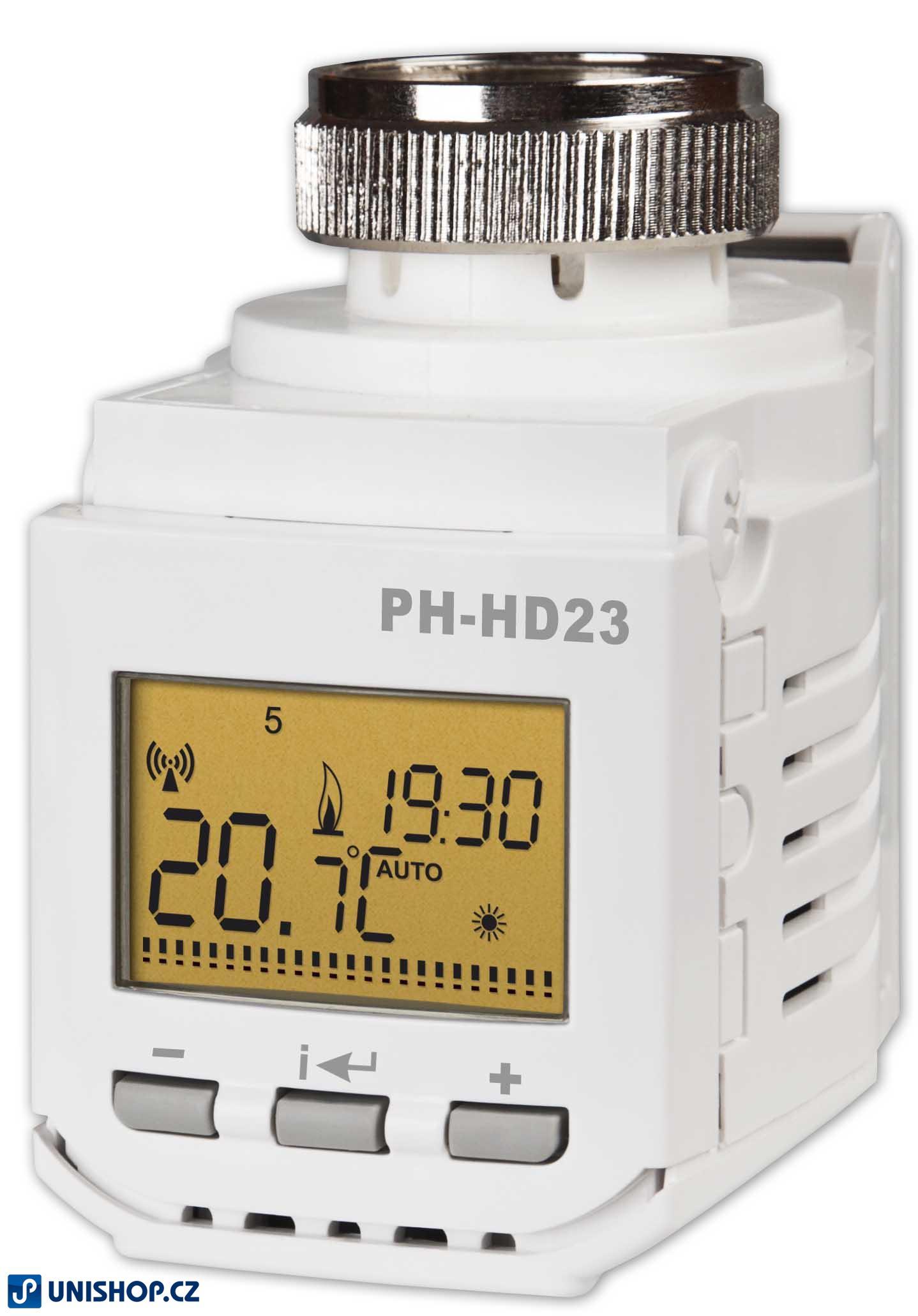PH-HD23 - Bezdrátová digitální hlavice Ovládá polohu ventilu podle požadované teploty.