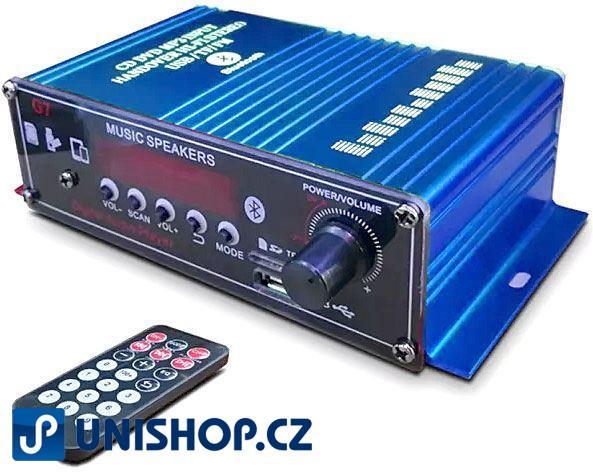 Zesilovač NF, 2x18W s AUX IN, Bluetooth, USB, SD kartou a rádiem