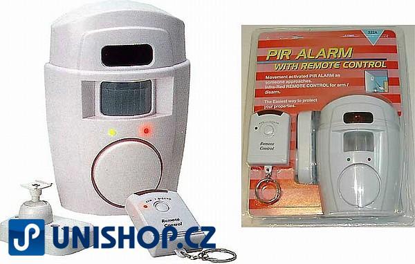 Fotografie Levný bytový nástěnný alarm s PIR čidlem a dálkovým ovládáním