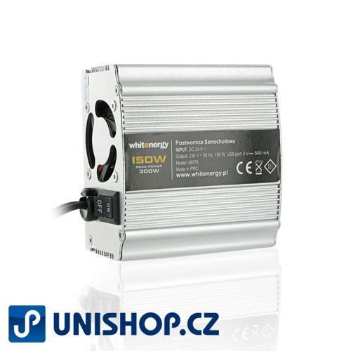 WE Měnič napětí DC/AC 12V / 230V, 150W, USB, mini