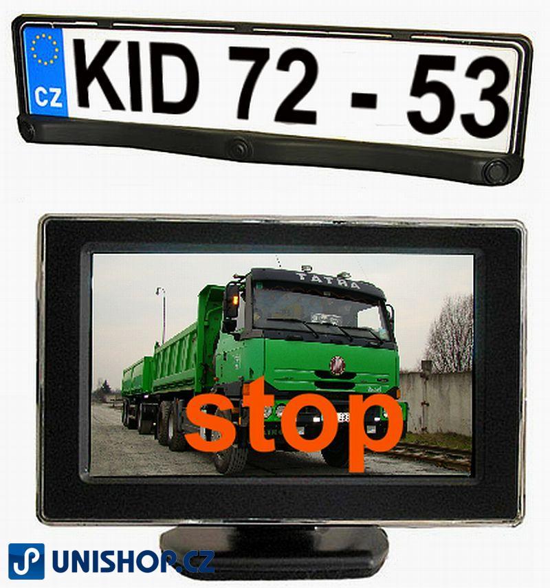 """Couvací alarm (parkovací asistent) s kamerou CCD a monitorem 4,3"""" sestava kamery, držáku SPZ, 2ks ultrazvukových čidel a LCD monitoru, vhodné pro"""