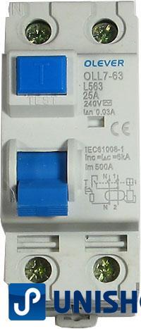 Proudový chránič 240V/25A-30mA 1fázový na DIN lištu