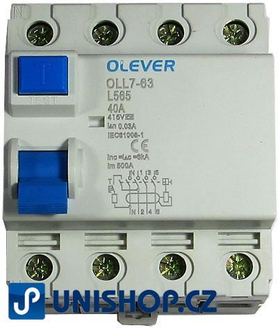 Proudový chránič ID 400V/40A-30mA 3fázový na DIN lištu
