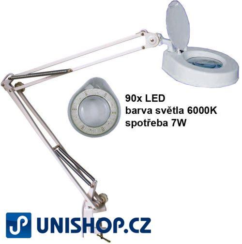 Stolní lupa s osvětlením LED, 8 dioptrií, se svorkou