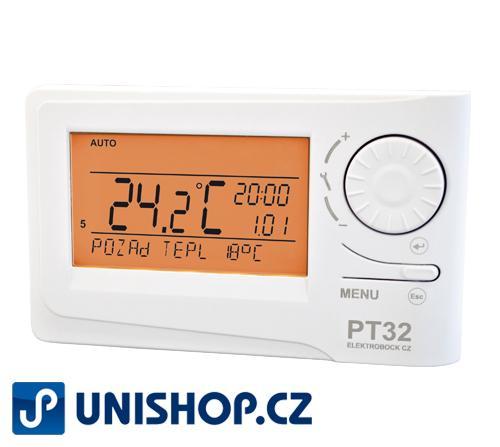 PT32 - Inteligentní prostorový termostat Prostorový termostat PT32 s podsvíceným velkým displejem a inteligentní regulací