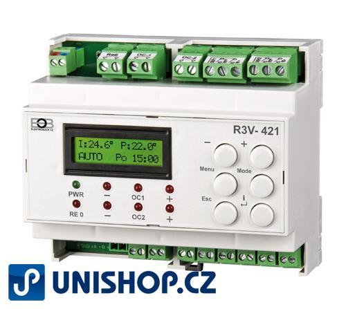 R3V-421 Dvou-okruhový regulátor ventilů Dvou-okruhový regulátor tří/ čtyřcestných ventilů s výběrem druhu regulace pro k