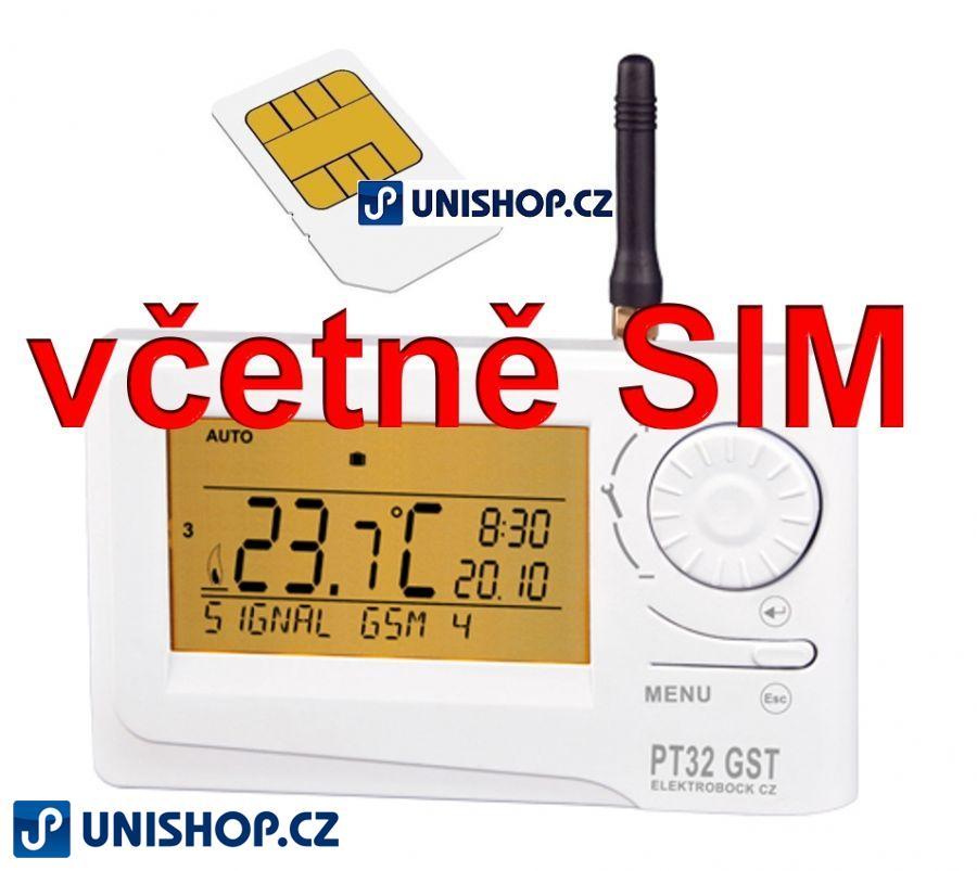 AKCE - PT32GST dálkově řízený PI sofistikovaný termostat SIM zdarma Termostat Elektrobock PT 32 GST - Inteligentní termostat Elektrobock PT 32 GST o