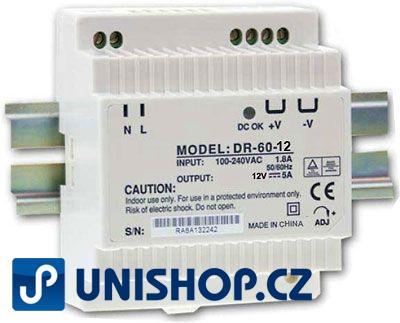 Zdroj 12V/60W spínaný DR-60 na DIN lištu