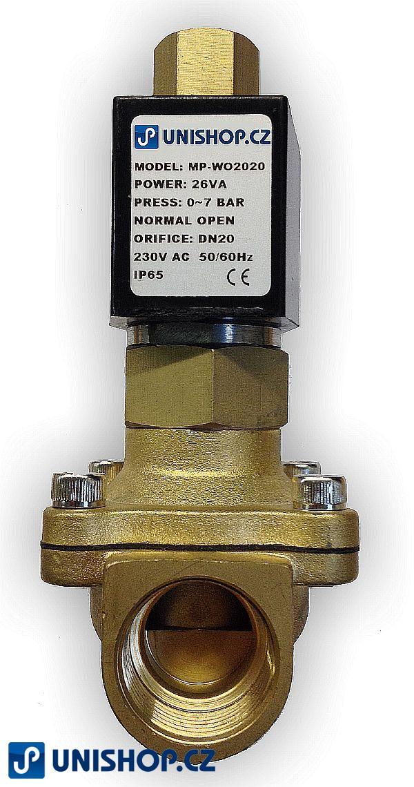 "MP-W20020NK, NO, G 3/4""- mosaz, 230V AC G 3/4 "" - Elektromagnetický ventil"