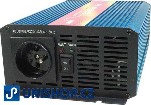 Měnič 12V/230V+USB 600W,čistá sinusovka,CARSPA